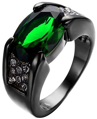 SaySure Black Gold Filled Emerald Anniversary Wedding & Engagement Ring (Gold-emerald-cut-ringe Rose)