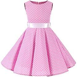 SXSHUN 2019 Niñas Vestido Pin-up Vestido Vintage 50's 60's Rockabilly Swing Dress Vestido de Noche por la Rodilla sin Mangas, Rosa/Lunar Blanco, 130cm (7-8 años)