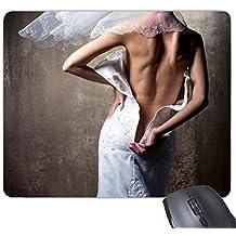 Vestido de novia blanco Nude Back Girl Gal Lady Rectángulo antideslizante de goma Mousepad ratón juego