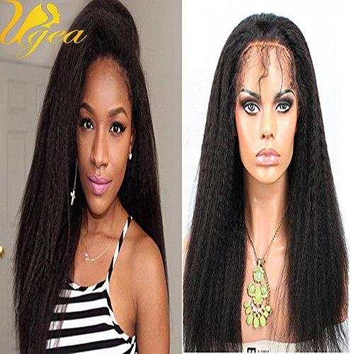 Ugeat 130% Densite Kinky Straight Cheveux Humains Wig 1b Noir Naturel Lace Plein Bresilien Cheveux Wig Virginal Pour les Femmes Noires 22\\
