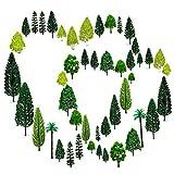 OrgMemory 36pcs Gemischtes Bäume Modellbau (4 -16 cm), h0 Bäume, Tabletop Gelände, Spur n, Schleich Waldtiere mit No Stände, Die Bäume Stehen Nicht selbständig