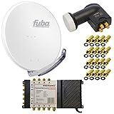 8 Teilnehmer Satelliten Anlage Antenne Fuba 85x85cm Alu Weiß DAA 850 W + PremiumX Multischalter 5/8 Multiswitch Matrix 5-8 mit Netzteil für 8 Teilnehmer + PremiumX Quattro LNB + 16 F-Stecker Switch Sat Digital FULLHD 3D UltraHD