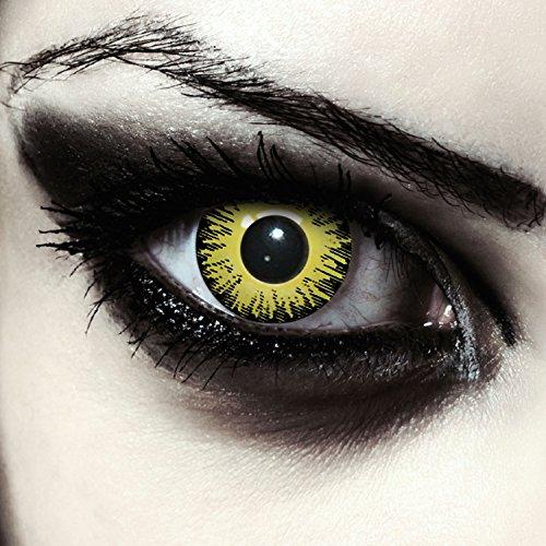 Gelbe farbige Exorzisten Kontaktlinsen für Halloween Farblinsen in gelb Model:
