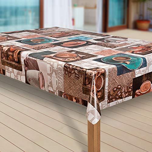 laro Tischdecke Wachstuch Tischläufer Wachstischdecke PVC abwaschbare Tischdecke Wasserabweisend Schutz G09, Größe:130x180 cm, Muster:Cafe Kaffee Espresso braun -