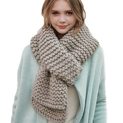 Dicke Twist Strickschals Mode Frauen Warm Knit Neck Kreis Cowl Snood mehrzweck Schal (Grau) (Cowl Metallic Neck)