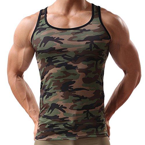 SaiDeng Uomo Canotta A Verde Militare Slim Fit Aderente Mimetica Come Immagine (Militari T-shirt)