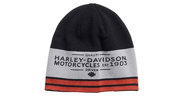HARLEY-DAVIDSON Mens Colorblocked Striped Knit Beanie Hat Black 97686-18VM