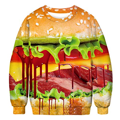 HAOHAOWU Pullover Longsleeve Sweatshirt, Halloween Brusthaar 3D Digitaldruck Rundhalspullover Sport Langarm Pullover Langarm Oversize Shirt,B,XXL
