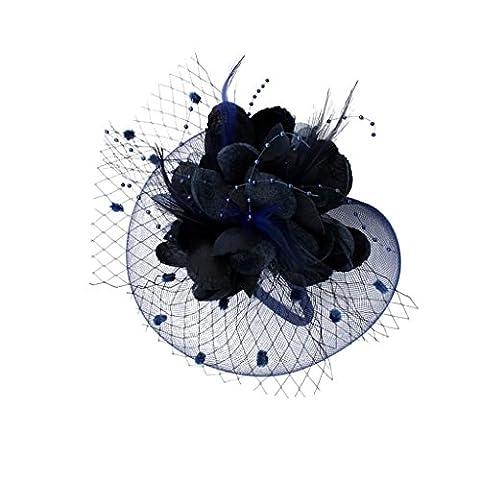 MagiDeal Femme Fascinator Fleur Mini Chapeau à Plume Voilette Accessoire