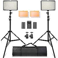 Kit de luz de video SAMTIAN 160 LED con trípode de 2M, soporte de panel de luz de foto 3200 / 5500K para fotografía de estudio de YouTube, incluidas las baterías [Tiempo de ejecución 90 minutos], cargador, estuche de transporte