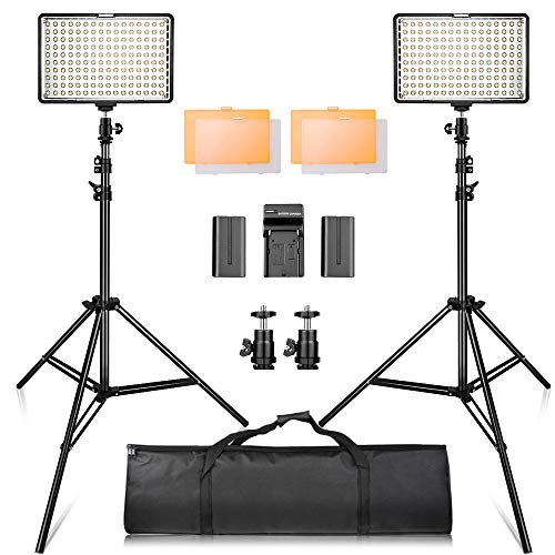 Video Licht LED, SAMTIAN 160 LED Videoleuchte Kit mit 2M Stativ, 3200 / 5500K Foto Light Panel Stand Set für YouTube Studio Fotografie Aufnahmen, einschließlich Batterien, Ladegerät, Tragetasche