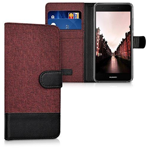 kwmobile Hülle für Huawei Nova - Wallet Case Handy Schutzhülle Kunstleder - Handycover Klapphülle mit Kartenfach und Ständer Dunkelrot Schwarz