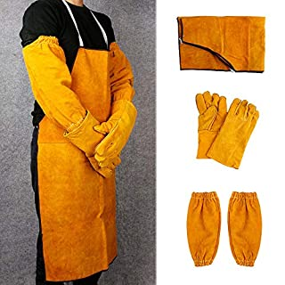 Welder Welding Protection Leather Gloves Gauntlets Long Apron Blacksmith Clothes (Welding Apron+Sleeves+Gloves)