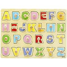 Happy Cherry Tabla Tablero Puzzle de Madera Alfabto Abecedario Inglés Letras Mayúsculas Cognitivo Juguete Juego Educativo para Niños