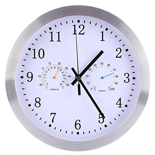 ANNA SHOP Wanduhr Funk, 12 Zoll Funkuhr Wanduhr Lautlos Modern Wanduhr Lautlos Mit Thermometer Hygrometer zum Schlafzimmer Wohnzimmer Kombüse