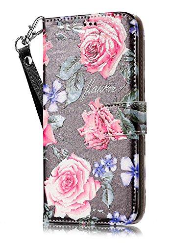 LG K20Plus Fall, LG K20V Fall, LG Harmony Fall, jancalm [Handschlaufe] [Standfunktion] [ Slots] Muster Premium PU Leder Brieftasche Fall Flip Cover + Crystal Pen, Black/Flower (Verizon Lg Screen Protector)