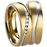2 Freundschaftsringe - Partnerringe - Verlobungsringe - Trauringe - Hochzeitsringe - Eheringe in Edelstahl gelbgold und silber