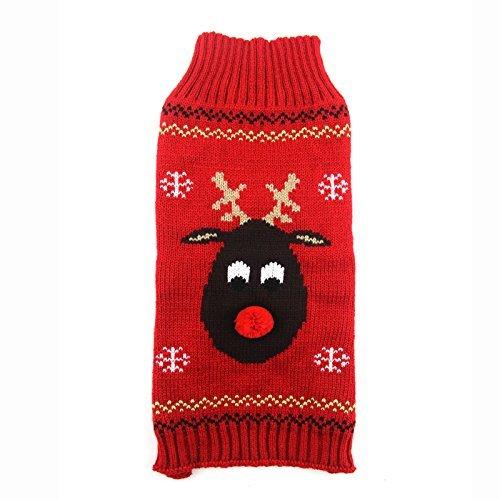 SEnjoyy Frohe Weihnachten Deer Nose Dogs Sweater Kostüm, Winter Kälte beständig im Freien gestrickte Haustiere Mantel - Kälte Kostüm