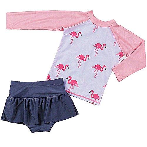 Mädchen Badeanzug Schwimmbekleidung Langarm Schwimmanzug UV-Schutz Bade-Set Rosa M