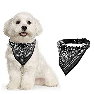Alcyoneus Adjustable Puppy Pet Dog Cat Neck Scarf Bandana Faux Leather Collar Neckerchief (S, Black) 2
