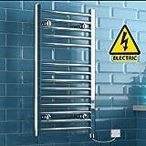 iBathUK | 800 x 450 Electric Chrome Heated Towel Rail Bathroom Radiator - All Sizes