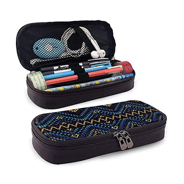 Colorido arte étnico Pu cuero caja de lápices bolsa con cremallera lindo pluma caja de lápices caja papelería caja