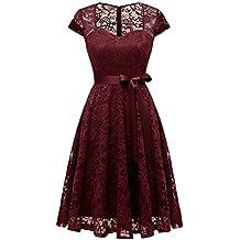 Aupuls AUP0026 Vestido De Fiesta Corto Encaje Escote Corazón Hombro Y Espalda Medio Transparente Elegante Mujer