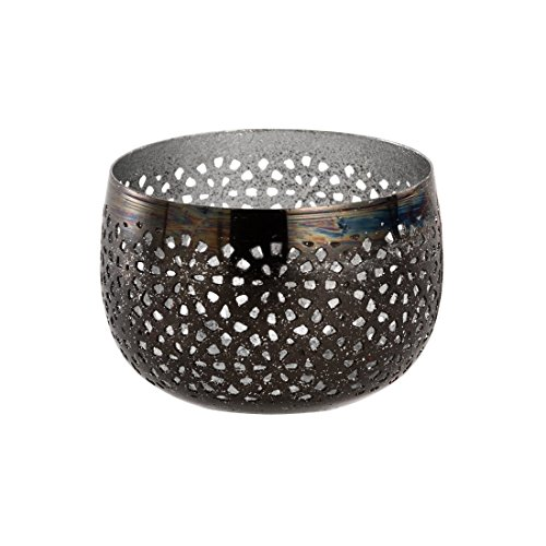 Sphärenlicht LILLE - schwarz /silber - Teelichthalter - Leuchtschale m. Ornament - Windlicht aus Metall (8x5 cm) (Metall-schale Tafelaufsatz)
