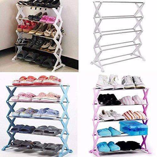 mark8shop 5Stufe stapelbar Edelstahl Schuhe Rack Ständer Display Regal sparen Lagerung Organizer Halter (Stapelbar Schuhe Rack)