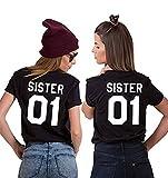 JWBBU Best Friends Sister T-Shirt mit Aufdruck Halb-Herz für Zwei Damen Mädchen Sommer Weiß Schwarz Oberteil Geburtstagsgeschenk 2 Stücke (Sister-S+S, Schwarz-Sister)