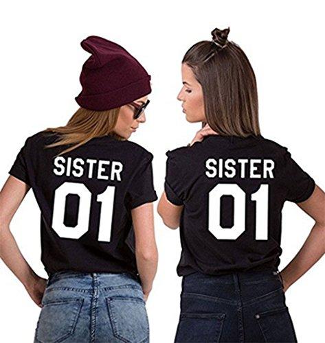 JWBBU Best Friends Sister T-Shirt mit Aufdruck Halb-Herz für Zwei Damen Mädchen Sommer Weiß Schwarz Oberteil Geburtstagsgeschenk 2 Stücke (Sister-S+S, Schwarz-Sister) (T-shirt Damen Mädchen)