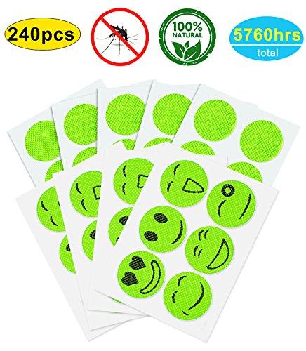 AXYSM 240 piezas de repelente de mosquito repelente de insectos pegatinas de insectos naturales para adultos y niños