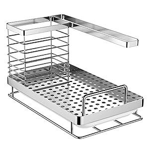 Oriware Spülbecken Organizer für die Küche Caddy Ordnungshelfer Küchenutensilienhalter Rostfreier Edelstahl - 25 x 15 x 15 cm
