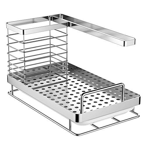 Oriware lavandino caddy organizer porta utensili da cucina della lavello acciaio inox - 25 x 15 x 15 cm
