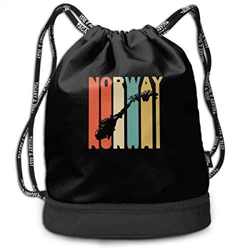 Retro Style Norwegen Silhouette Drawstring Rucksack für Herren und Damen, 100% Polyester Original Handtaschen