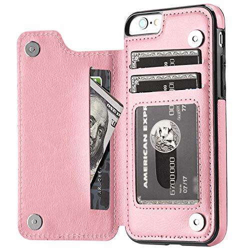 XRPow Schutzhülle für iPhone 6 Plus/6S Plus, mit Kartenfächern, PU-Leder, Standfunktion, Kartenfächer, Magnetverschluss, strapazierfähig, stoßfest, 14 cm, iPhone 6s Mehr, Rose Gold - Register Taste Cash
