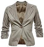 Eleganter Damenblazer Blazer Baumwolle Jäckchen Business Freizeit Party Jacke in 26 Farben 34 36 38 40 42, Farbe:Fossil;Größe:XL-42