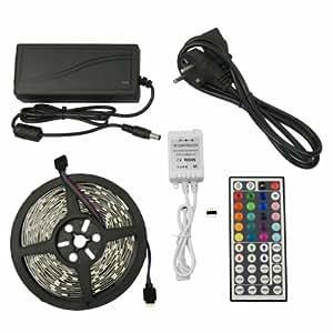5 M METER KOMPLETT SET: RGB LED Strip 5050 44 Tasten Fernbedienung Leiste Streifen + 44 Key Fernbedienung + Netzteil 12V 5A 60W LD238