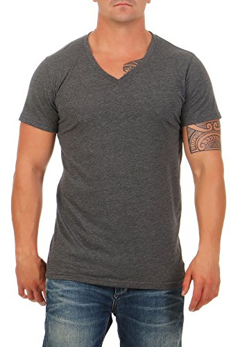 Happy Clothing Herren T-Shirt V-Ausschnitt Meliert Comfort Bügelfrei, Größe:XXL, Farbe:Anthrazit