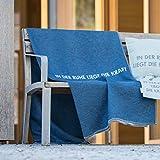 David Fussenegger - Sylt - BW-Decke mit Zierstich - In der Ruhe liegt die Kraft- Navy/blau - 140 x 200 cm
