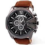 Internet Luxus-Mann-Uhr Analog Sport-Stahl-Gehäuse Quarz Vorwahlknopf-Leder-Armbanduhr