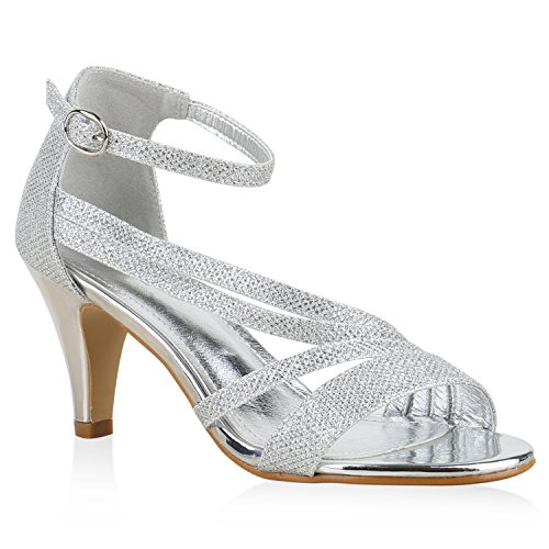 Damen Sandaletten Glitzer | Riemchensandaletten Lack | Party Schuhe Metallic | Stiletto Sandalen Strass Silber