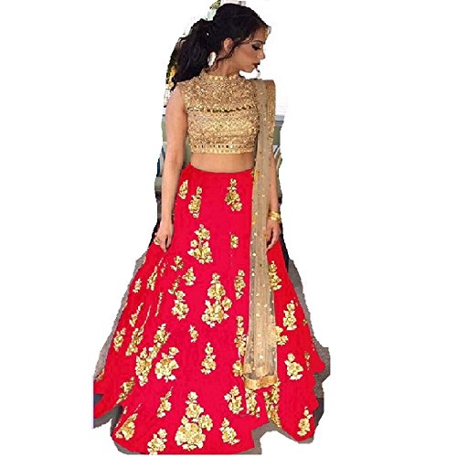 Ustaad women's Banglori silk red Color Lehenga Choli