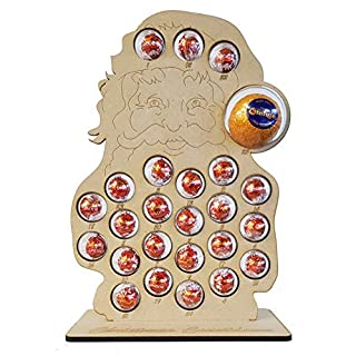 Mooseys Santa Claus Christmas Advent Calendar with Stand for Chocolate Orange & Lindt, includes Baubles (Countdown to Christmas)