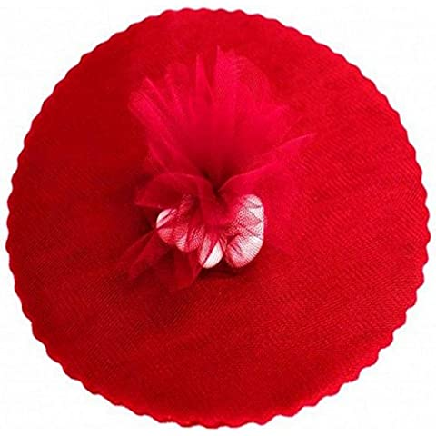 50 Scalloped Organza Circles 9 Wedding Favor Wrap - Red by Party Favors Plus - Organza Circle