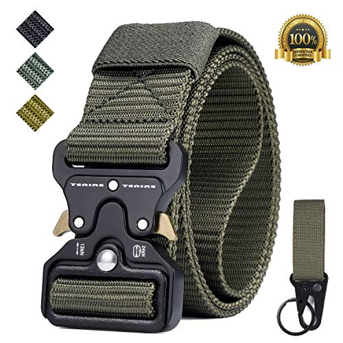 Tactical Belt, Tenine Nylon Military Belt 1.5 Inches Tactical Resistant with Quick Release Metal Strap For EDC Team Molle Tactical Belt (Army Green)