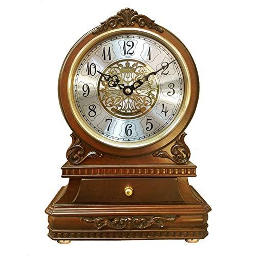 Li-lamp Mantel Clock, Mute Quartz Retro Dome Mantel Desk Clock Dome Funciona con batería con Esfera árabe