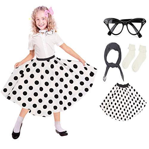 Beelittle 50er Jahre Kostüm Zubehör Set Mädchen Vintage Polka Dot Rock Schal Stirnband/Bobby Socken Cat Eye Brille 50er Jahre Kind Kostüm (B-White)