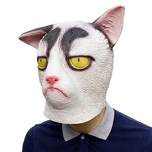 HLDWXN Halloween lustige unglückliche Katze Maske für Erwachsene und Kinder, geeignet für Cosplay Kostüm Party/Halloween, Weihnachten und Neujahr Bekleidungszubehör, geeignet für Männer und - Lustige Katze Kostüm Für Erwachsene