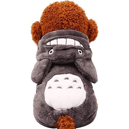 Jadeyuan Kostüm Haustierkleidung, Totoro Hoodie Warme Hundekleidung Herbst Und Winter Haustierkleidung Welpen Kleidung Kätzchen Hoodie, Grau Bekleidung (Color : Gray, Size : Small) (Herbst Kostüm)
